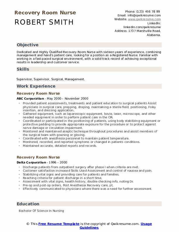 Recovery Room Nurse Resume .Docx (Word)