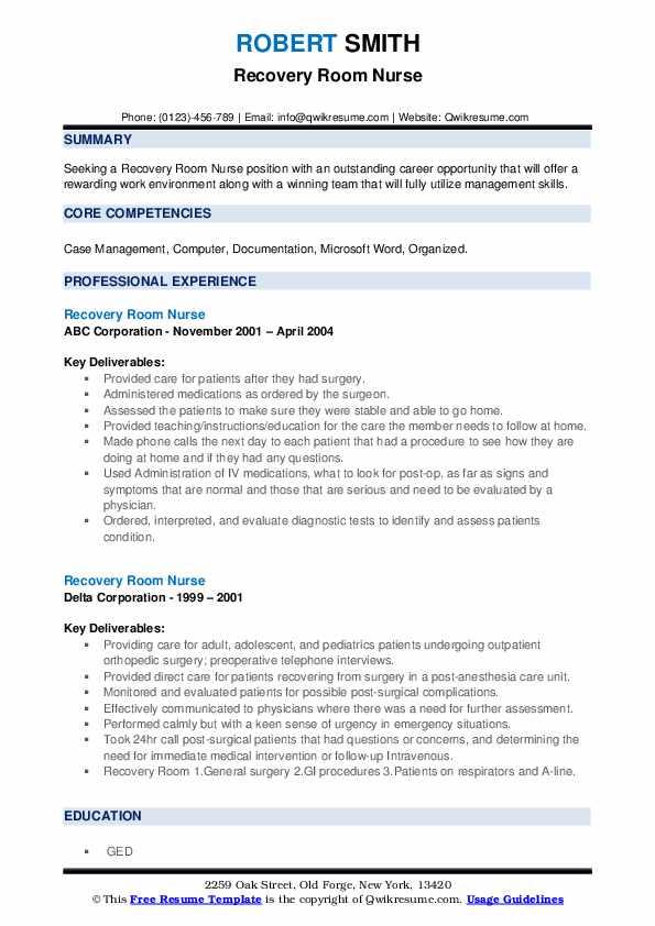 Recovery Room Nurse Resume1