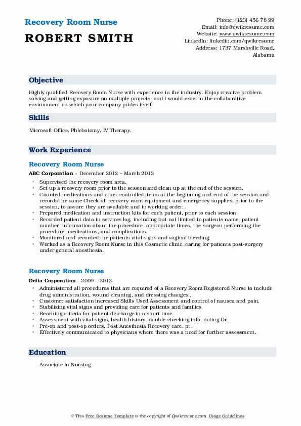 Recovery Room Nurse Resume3