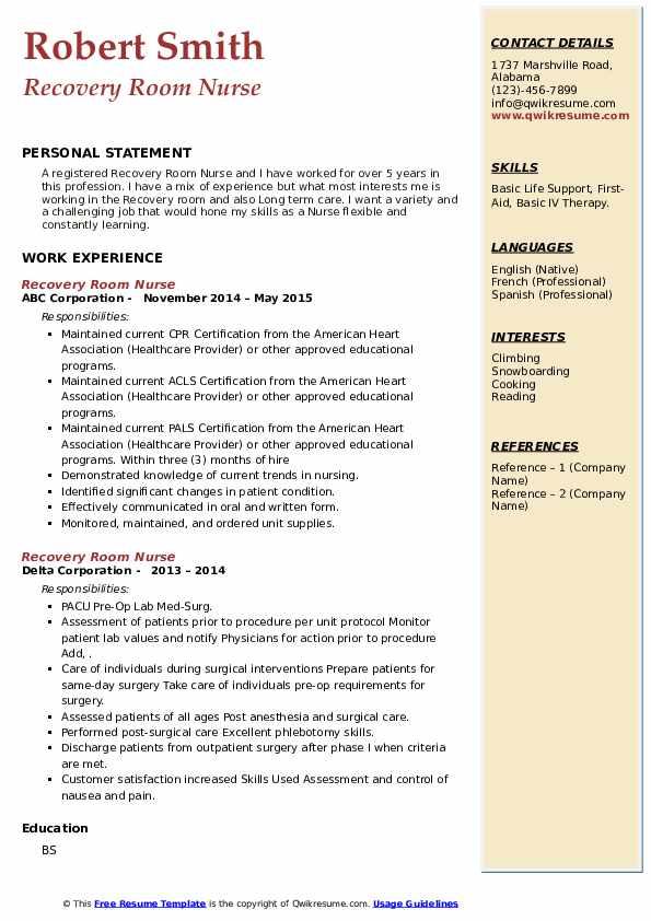 Recovery Room Nurse Resume6