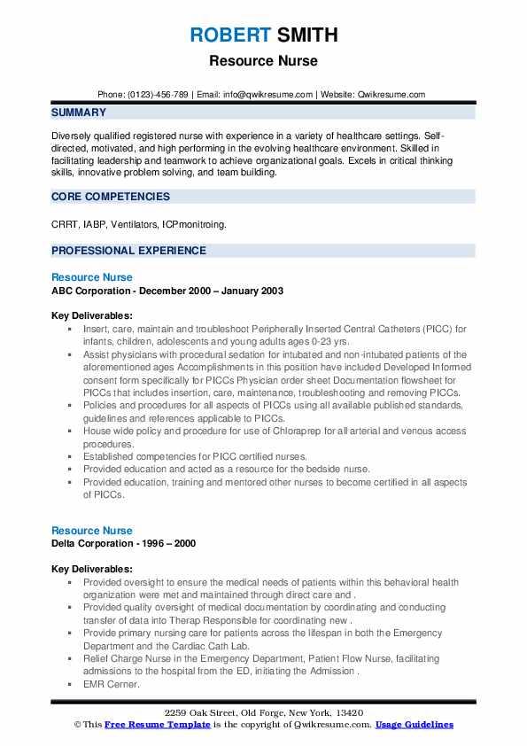 Resource Nurse Resume1