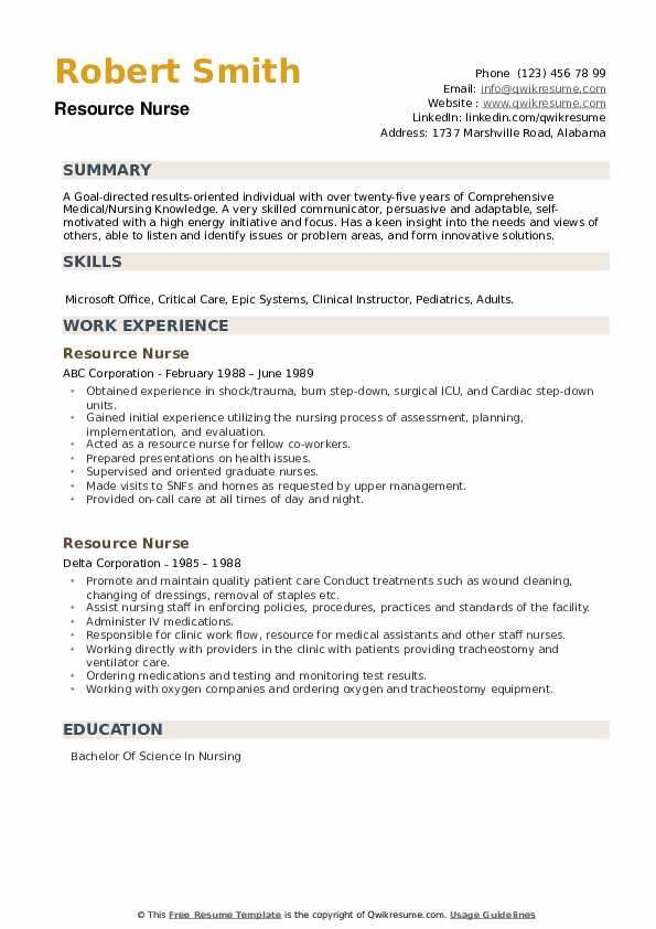Resource Nurse Resume .Docx (Word)
