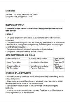 Sample Restaurant Waiter Resume