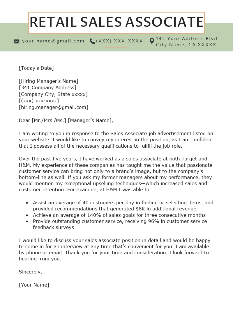 Retail Sales Associate Cover Letter Example