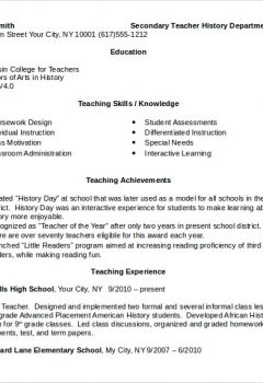 Sample Teacher Resume Word > Sample Teacher Resume Word .Docx (Word)