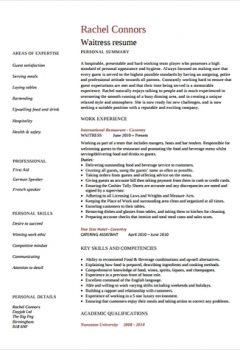 Sample Waitress Resume