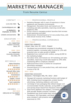 Marketing Manager Resume Template > Marketing Manager Resume Template .Docx (Word)