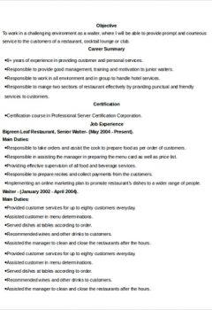 Senior Waiter Resume