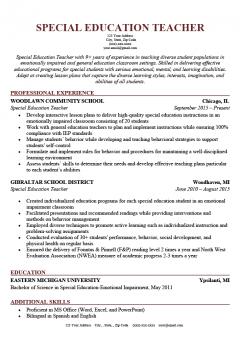 Special Education Teacher Resume