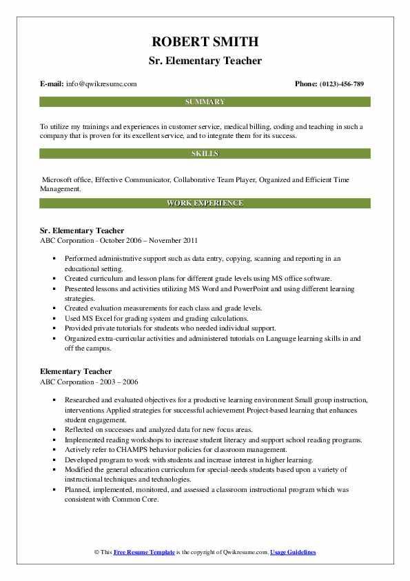 Sr. Elementary Teacher Resume .Docx (Word)