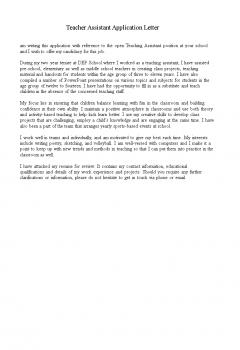 Teacher Assistant Application Letter .Docx (Word)
