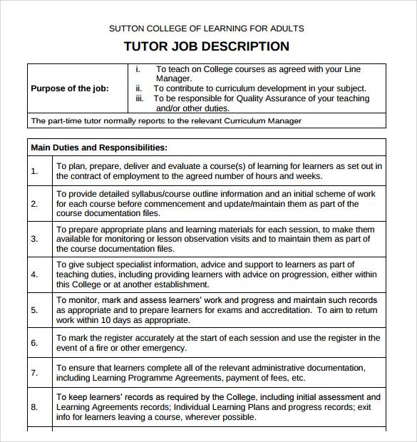 Tutor Description on Resume
