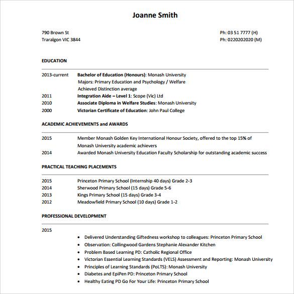 Tutor Resume Sample