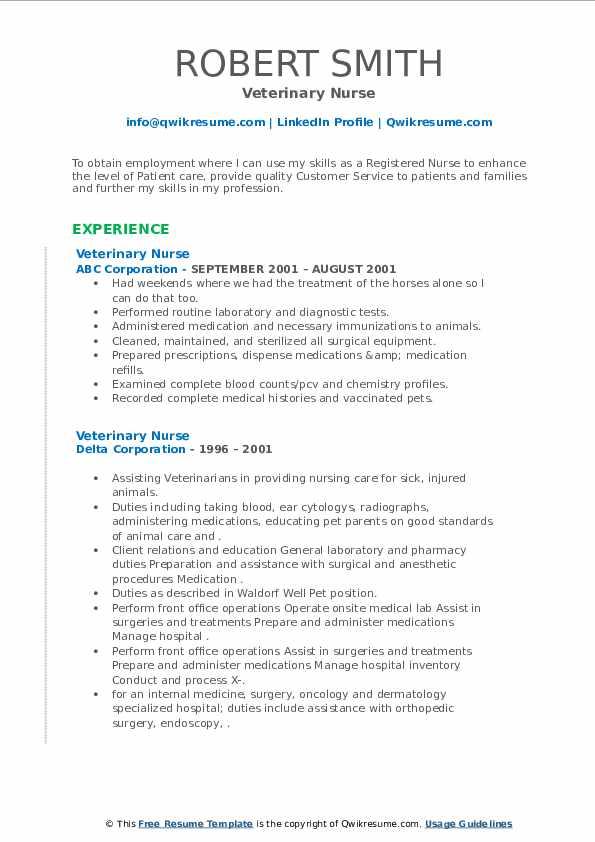 Veterinary Nurse Resume3