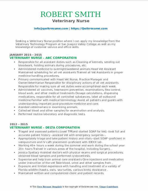 Veterinary Nurse Resume5