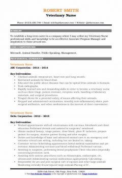 Veterinary Nurse Resume .Docx (Word)