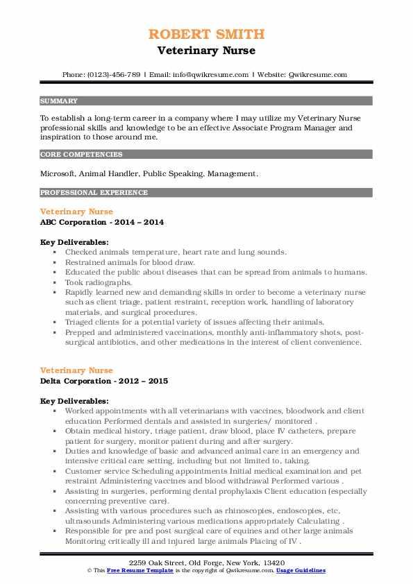 Veterinary Nurse Resume6