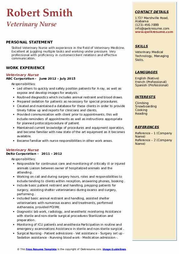 Veterinary Nurse Resume7