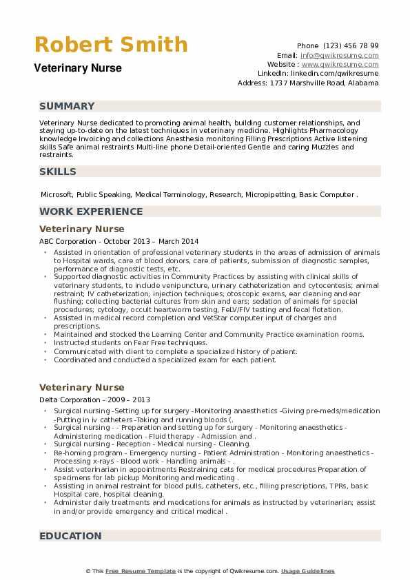 Veterinary Nurse Resume8