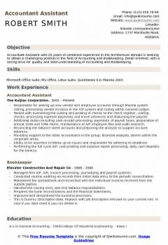 Accountant Assistant Resume > Accountant Assistant Resume .Docx (Word)