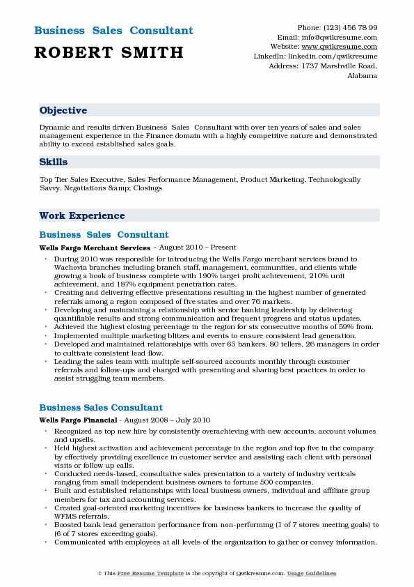 Business Sales Consultant Resume