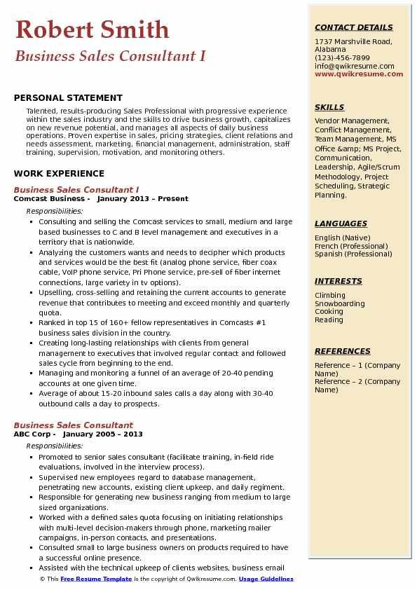 Business Sales Consultant I Resume