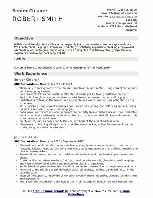 Senior Cleaner Resume