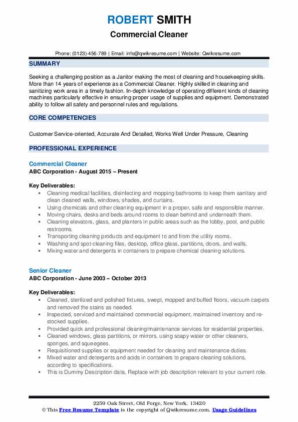 Commercial Cleaner Resume .Docx (Word)