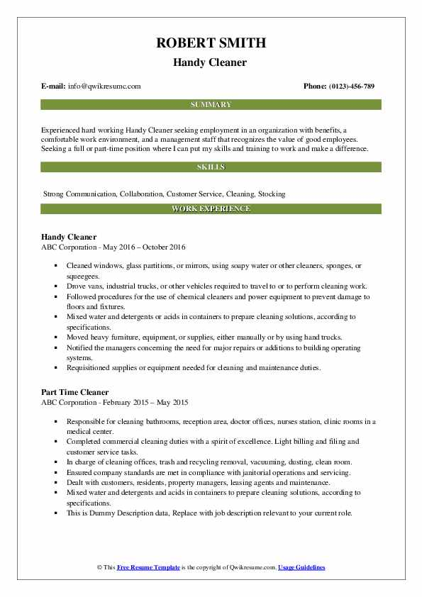 Handy Cleaner Resume