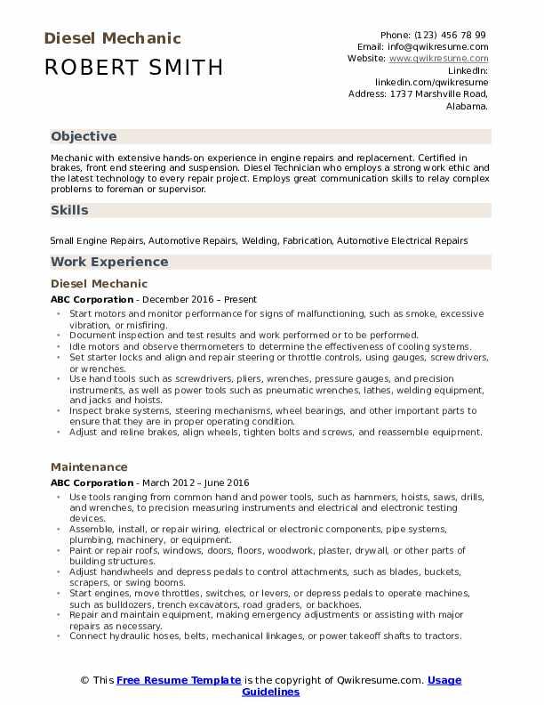 Diesel Mechanic Resume .Docx (Word)