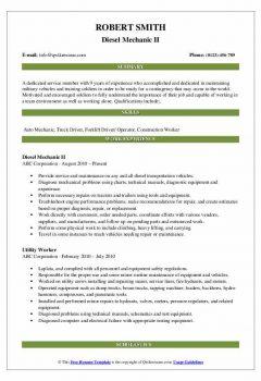 Diesel Mechanic II Resume