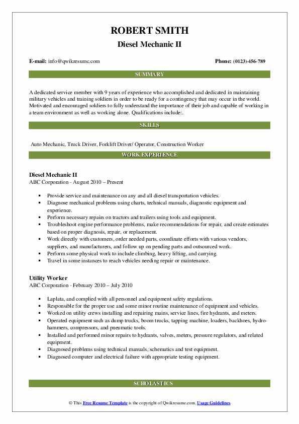 Diesel Mechanic II Resume .Docx (Word)