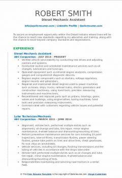 Diesel Mechanic Assistant Resume
