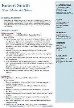 Diesel Mechanic/ Driver Resume