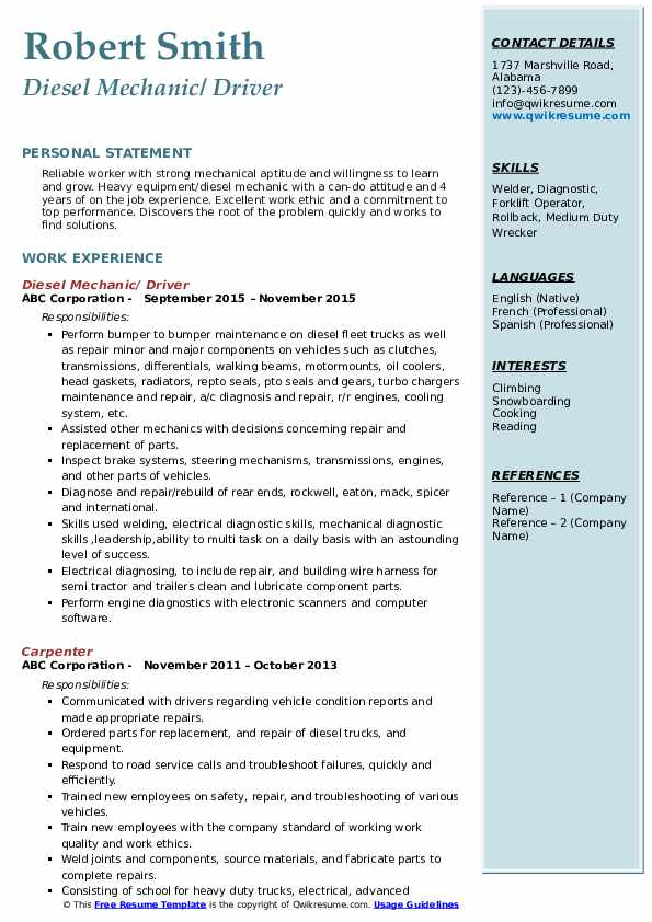 Diesel Mechanic/ Driver Resume .Docx (Word)