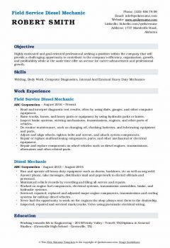 Field Service Diesel Mechanic Resume