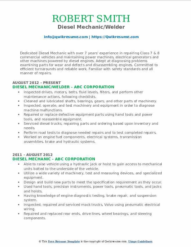 Diesel Mechanic/Welder Resume