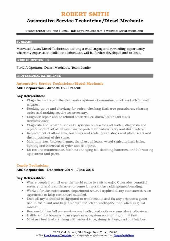 Automotive Service Technician/Diesel Mechanic Resume .Docx (Word)