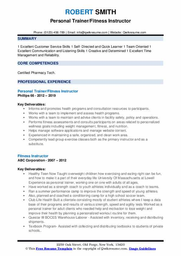 Personal Trainer/Fitness Instructor Resume