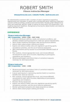 Fitness Instructor/Manager Resume