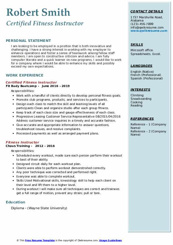 Certified Fitness Instructor Resume
