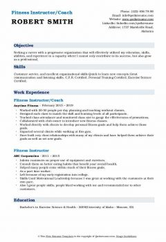 Fitness Instructor/Coach Resume