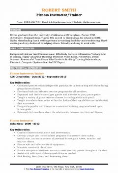 Fitness Instructor/Trainer Resume