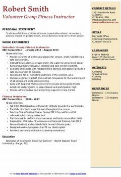 Volunteer Group Fitness Instructor Resume