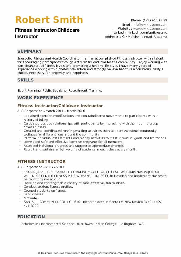 Fitness Instructor/Childcare Instructor Resume