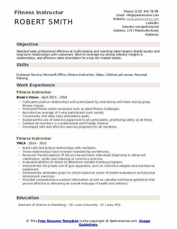 Fitness Instructor Resume
