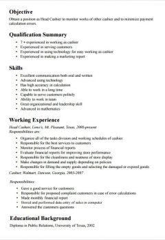 Head Cashier Resume Template > Head Cashier Resume Template .Docx (Word)