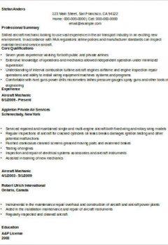 Aircraft Mechanic Resume Example .Docx (Word)