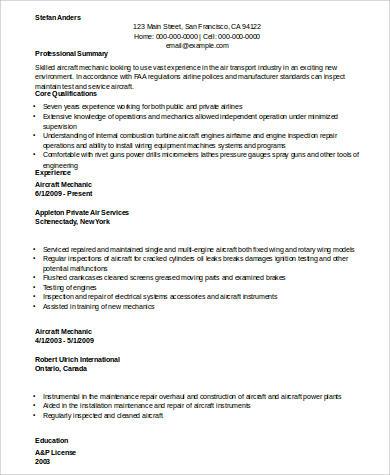 Aircraft Mechanic Resume Example