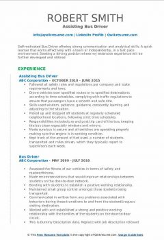 Assisting Bus Driver Resume